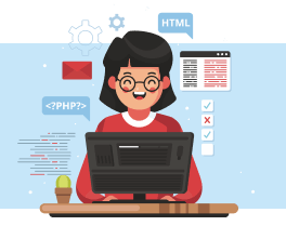 Old woman learn how to code.
