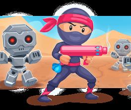 Ninja fights robots.